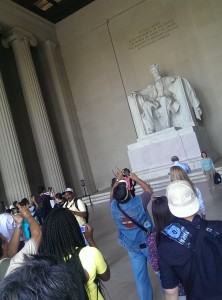 The Lincoln Memorial and tourists