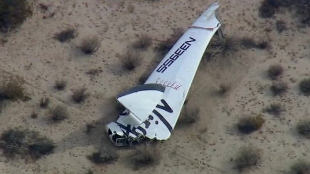 SpaceShipTwo wreckage, Oct. 31, 2014 (via BBC)