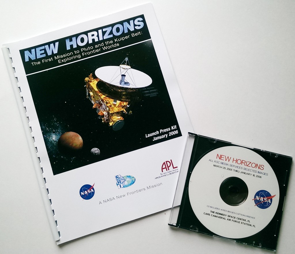Items from the New Horizons launch press packet, which have been hanging out in a Southwest Research Institute folder for nine-and-a-half years.