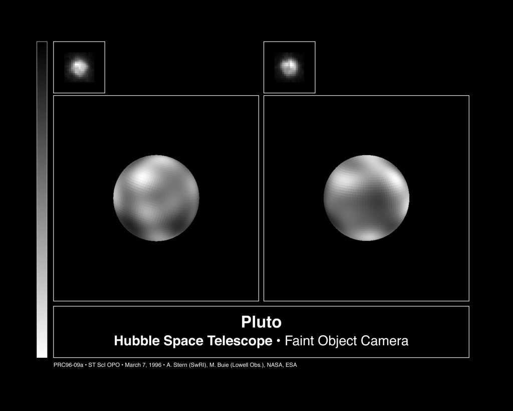 Hubble's view of Pluto, taken in 1996. Note that Alan Stern and Mark Buie, both on the New Horizons team, were credited. So Stern will have been responsible, more or less, for every decent image we have of Pluto.