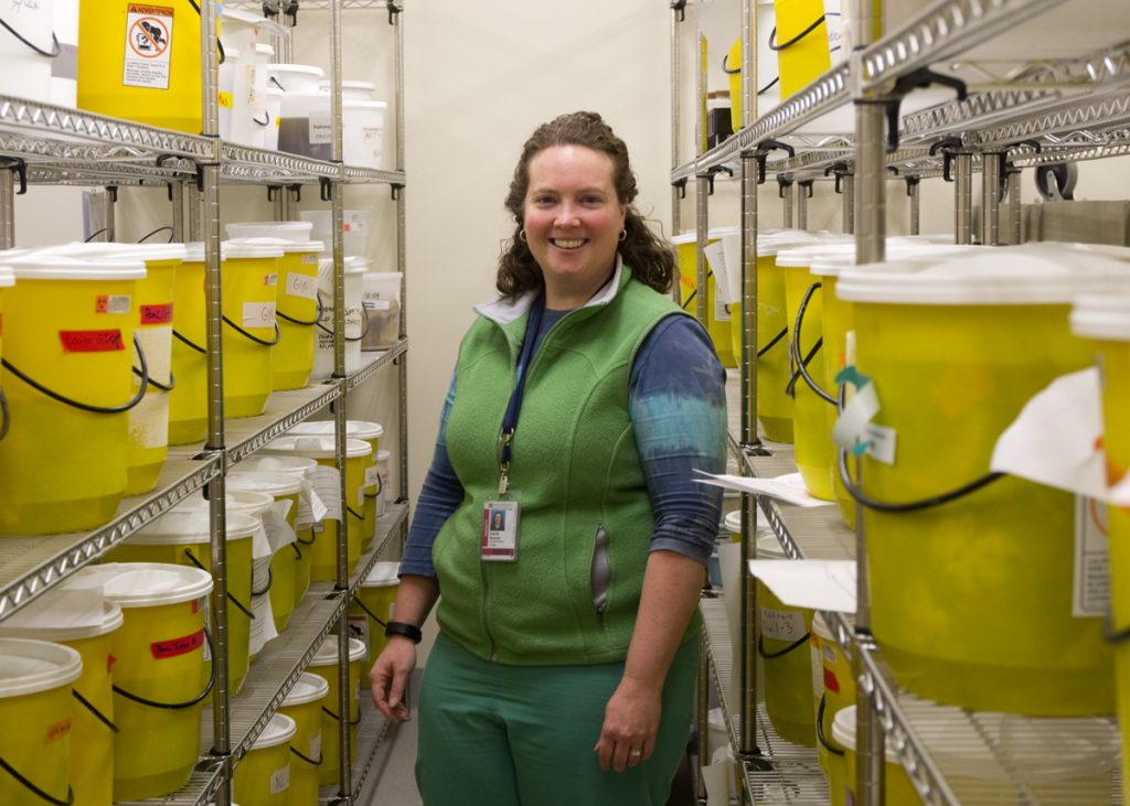 CU School of Medicine Pathologist Carrie Marshall, MD, in the Organ Room of tissues used for training and outreach.