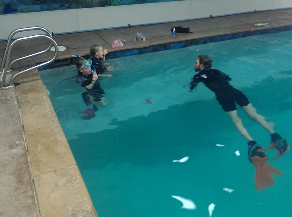 Lily and Maya in the water at Denver Divers