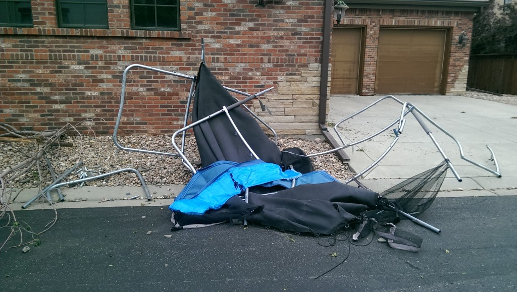 This used to be a trampoline. It was reportedly, for a brief time, on this house's roof.