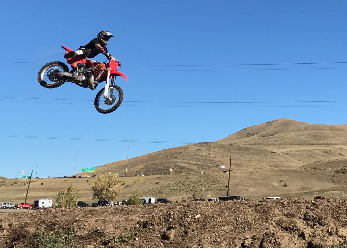 Eric Rice jumps his motorcycle