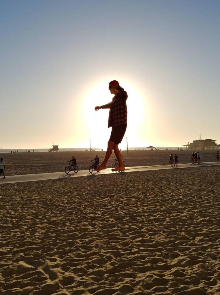 A slackliner at Santa Monica's Muscle Beach