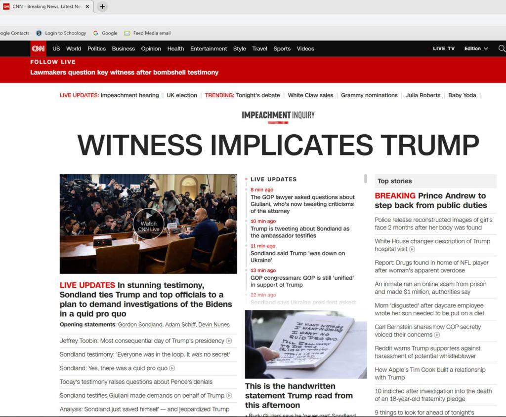 CNN Gordon Sondland Testimony