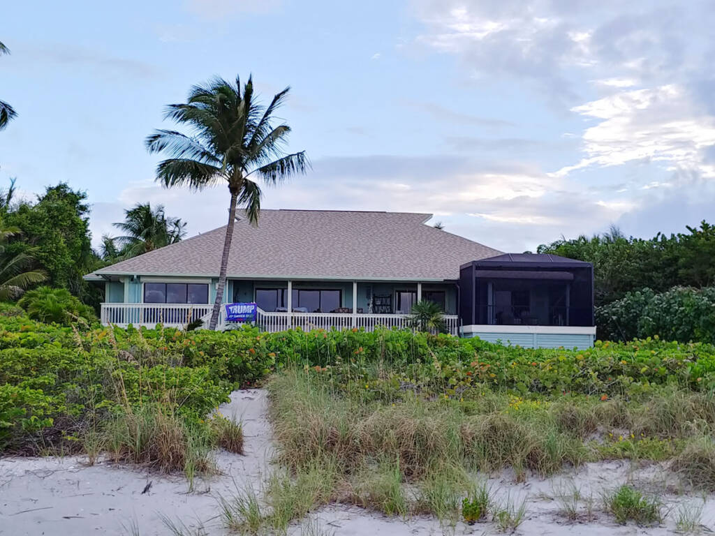 Sanibel beach home with Trump 2020 sign