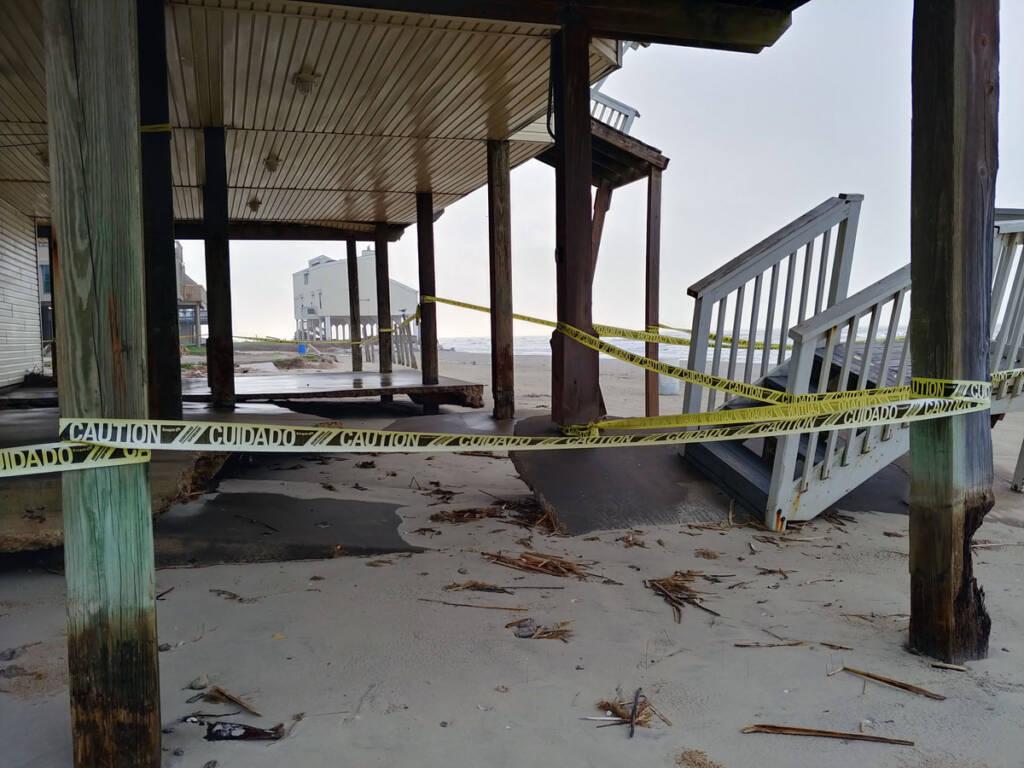 Galveston Beach house falling into the sea