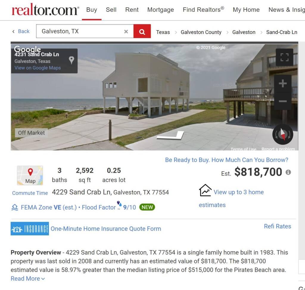 Galveston island 4229 Sandcrdab Realtor.com snip