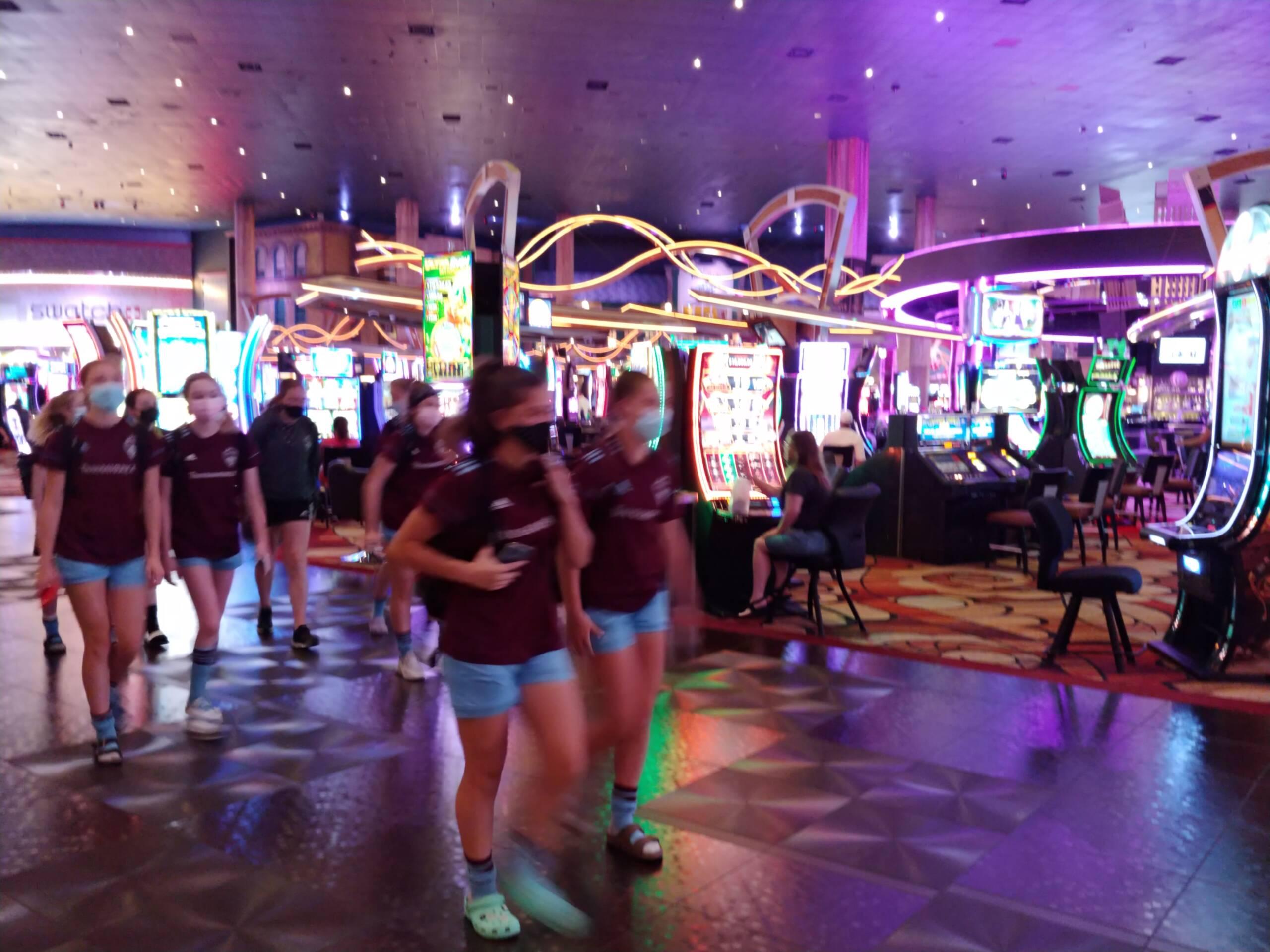Soccer team walks through New York-New York casino in Las Vegas